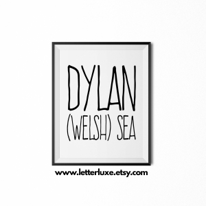 Dylan Baby Name Meaning Art - Black frame - LetterLuxe Printables - Watermark