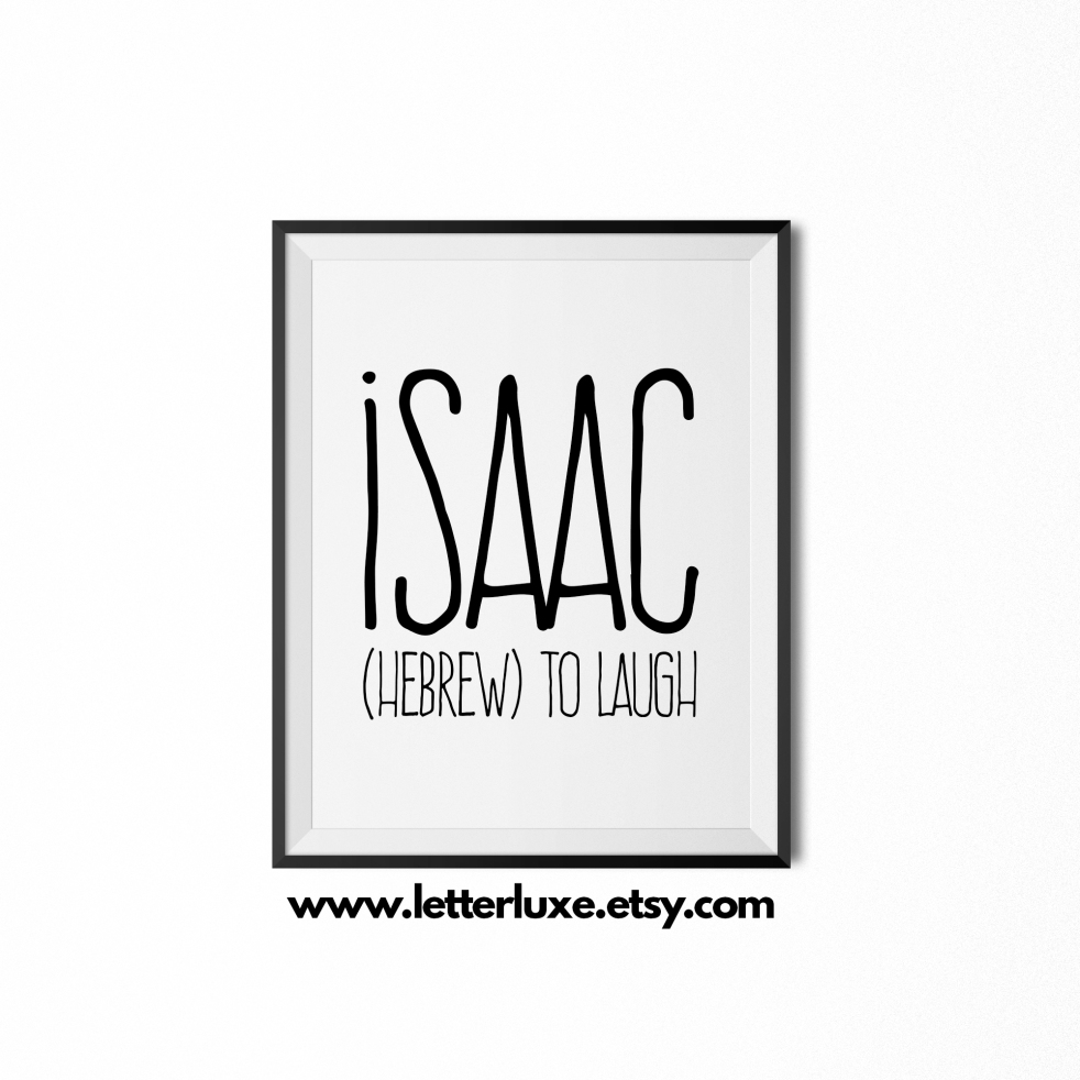 Isaac Baby Name Meaning Art - Black frame - LetterLuxe Printables - Watermark