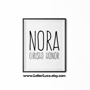 Nora Name Definition - Black Frame - Frente Font - Watermark