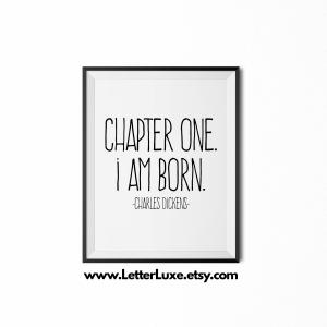 Chapter One I am Born Print - Black frame - Frente Font - LetterLuxe Printables - Watermark v2