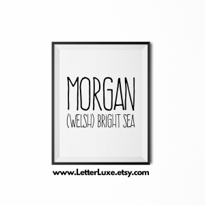 Morgan Name Meaning Poster Print - Black frame - Frente Font - LetterLuxe Printables - Watermark