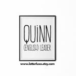 Quinn Name Meaning Poster Print - Black Frame - LetterLuxe Printable - Watermark