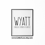 Wyatt Name Definition - Black Frame - Frente Font - Watermark